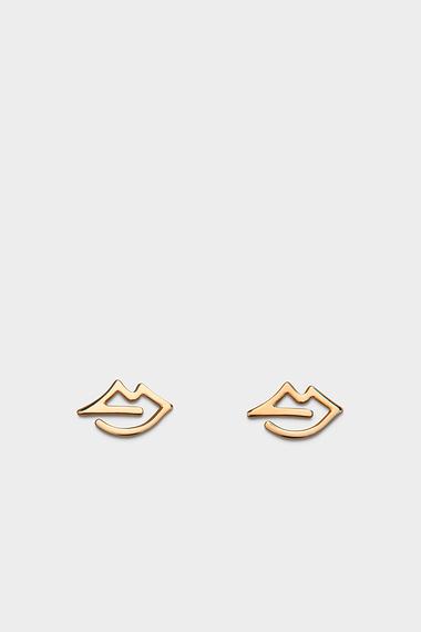Mara Lips Earrings, Vermeil