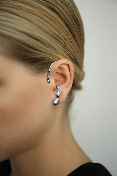 Flux Ear Cuff, Ruthenium Plated